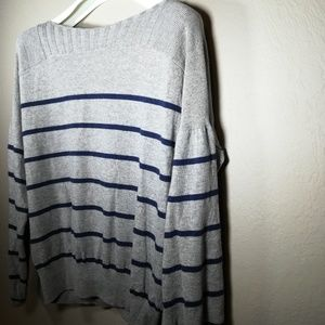 Lucky Brand Grey and Navy stripe Sweater boatneck